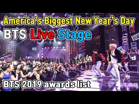 New year's rockin eve 2020 bts new york times square live stage (2019 awards list)