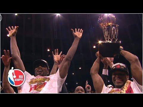 Toronto raptors celebrate winning nba finals and kawhi leonard named finals mvp | 2019 nba finals