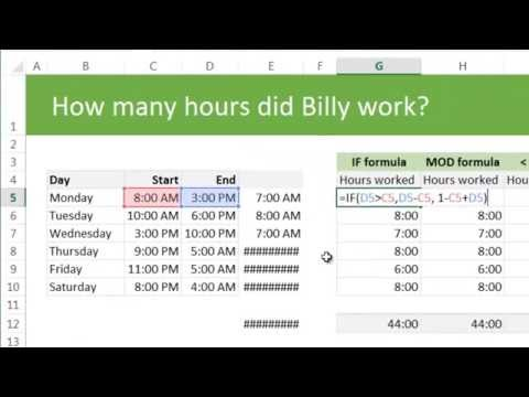 Calculating total working hours using excel - example & discussion